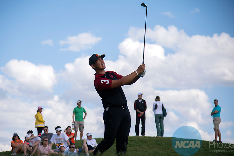 SUGAR GROVE, IL - MAY 29: Rico Hoey of the University of Southern California tees off during the Division I Men's Golf Individual Championship held at Rich Harvest Farms on May 29, 2017 in Sugar Grove, Illinois. Hey tied for sixth with a -4 score.  (Photo by Jamie Schwaberow/NCAA Photos via Getty Images)