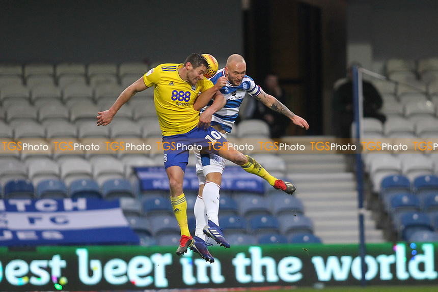 Toni Leistner of QPR anb Lukas Jutkiewicz of Birmingham Cityduring Queens Park Rangers vs Birmingham City, Sky Bet EFL Championship Football at Loftus Road Stadium on 9th February 2019