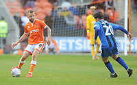Blackpool's Jay Spearing under pressure from Gillingham's Darren Oldaker<br /> <br /> Photographer Kevin Barnes/CameraSport<br /> <br /> The EFL Sky Bet League One - Blackpool v Gillingham - Saturday 4th May 2019 - Bloomfield Road - Blackpool<br /> <br /> World Copyright © 2019 CameraSport. All rights reserved. 43 Linden Ave. Countesthorpe. Leicester. England. LE8 5PG - Tel: +44 (0) 116 277 4147 - admin@camerasport.com - www.camerasport.com
