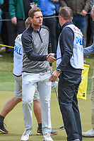 Lucas Bjerregaard (DEN) shakes hands with his caddie following his match vs Matt Kuchar (USA) during day 5 of the WGC Dell Match Play, at the Austin Country Club, Austin, Texas, USA. 3/31/2019.<br /> Picture: Golffile | Ken Murray<br /> <br /> <br /> All photo usage must carry mandatory copyright credit (&copy; Golffile | Ken Murray)