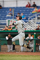 West Virginia Black Bears first baseman Luke Mangieri (39) follows through on a swing during a game against the Batavia Muckdogs on June 18, 2018 at Dwyer Stadium in Batavia, New York.  Batavia defeated West Virginia 9-6.  (Mike Janes/Four Seam Images)