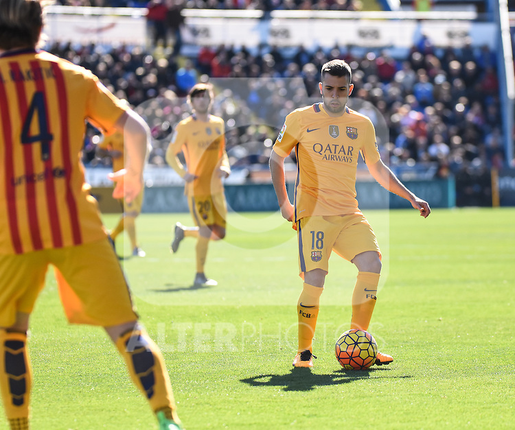 FC Barcelona's  Ivan Rakitic and Jordi Alba during La Liga match. February 7, 2016. (ALTERPHOTOS/Javier Comos)
