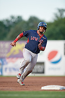 Lowell Spinners catcher Alberto Schmidt (20) running the bases during a game against the Auburn Doubledays on July 13, 2018 at Falcon Park in Auburn, New York.  Lowell defeated Auburn 8-5.  (Mike Janes/Four Seam Images)