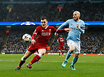Manchester City's David SIlva tussles with Liverpool's Andy Robertson during the Champions League Quarter Final 2nd Leg match at the Etihad Stadium, Manchester. Picture date: 10th April 2018. Picture credit should read: David Klein/Sportimage
