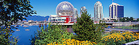 Telus World of Science (aka Science World) and Citygate Residential Buildings at False Creek, Vancouver, BC, British Columbia, Canada - Renovation at Science World completed in 2012 - Panoramic View