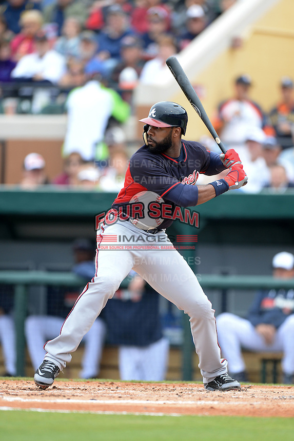 Atlanta Braves outfielder Jason Heyward (22) during a spring training game against the Detroit Tigers on February 27, 2014 at Joker Marchant Stadium in Lakeland, Florida.  Detroit defeated Atlanta 5-2.  (Mike Janes/Four Seam Images)