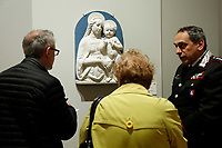 bas-relief by Luca della Robbia, Madonna of Consolation, 1480-90, stolen in Italy in 1971 and found in Canada in 2019<br /> Rome May 3rd 2019. Quirinale Palace. Preview of the exhibition 'The art of rescuing art' , a collection of antique artworks, paintings, statues, jewelry and terracotta artefacts rescued from the command of Carabinieri for the protection of the cultural heritage in 50 years.  Many of these artworks were stolen on commission for private collections.<br /> Photo di Samantha Zucchi/Insidefoto