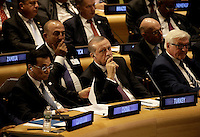 (L to R) The Premier of the State Council of the People's Republic of China, Li Keqiang, the President of Turkey President Recep Tayyip Erdogan and the German Federal Minister for Foreign Affairs, Frank-Walter Steinmeier attend a Leaders Summit for Refugees during the United Nations 71st session of the General Debate at the United Nations General Assembly at United Nations headquarters in New York, New York, USA, 20 September 2016. Photo Credit: Peter Foley/CNP/AdMedia