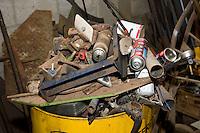 Scrap metal in a farm workshop....Copyright..John Eveson, Dinkling Green Farm, Whitewell, Clitheroe, Lancashire. BB7 3BN.01995 61280. 07973 482705.j.r.eveson@btinternet.com.www.johneveson.com