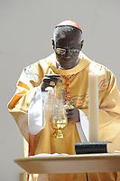 Cardinal Robert Sarah., President of the Pontifical Council COR ANUM, at the Cathedral of St Peter and St Paul, Sendai, Miyagi Prefecture,  Japan.  the Cardinal was touring the Tsunami hit areas around Sendai, Japan.<br /> <br /> photo by Richard Jones/ sinopix