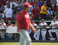 NWA Democrat-Gazette/CHARLIE KAIJO A South Carolina players yells during the second game of the NCAA super regional baseball, Sunday, June 10, 2018 at Baum Stadium in Fayetteville. Arkansas fell to South Carolina 5-8.