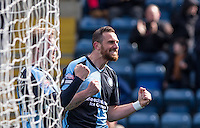 Paul Hayes of Wycombe Wanderers celebrates his goal during the Sky Bet League 2 match between Wycombe Wanderers and Barnet at Adams Park, High Wycombe, England on 16 April 2016. Photo by Andy Rowland.