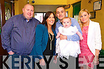 Baby Jack O'Connor with his parents Patricia & Christy O'Connor, Liselton & god parents Keith Flavin & Tara Flavin who was christened in Ballydonoghue Church by Fr. Lawlor on Saturday last and afterwards in The Thatch Bar, Liselton