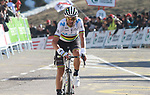 World Champion Alejandro Valverde (ESP) Movistar Team crosses the finish line at the end of Stage 4 of the Volta Ciclista a Catalunya 2019 running 150.3km from Llanars (Vall De Camprodon) to La Molina (Alp), Spain. 28th March 2019.<br /> Picture: Colin Flockton | Cyclefile<br /> <br /> <br /> All photos usage must carry mandatory copyright credit (© Cyclefile | Colin Flockton)