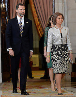 Spanish Royals Prince Felipe (l) and Queen Sofia receive International Olympic Committee Evaluation Commission Team for a dinner at the Royal Palace.March 20,2013. (ALTERPHOTOS/Pool) /NortePhoto