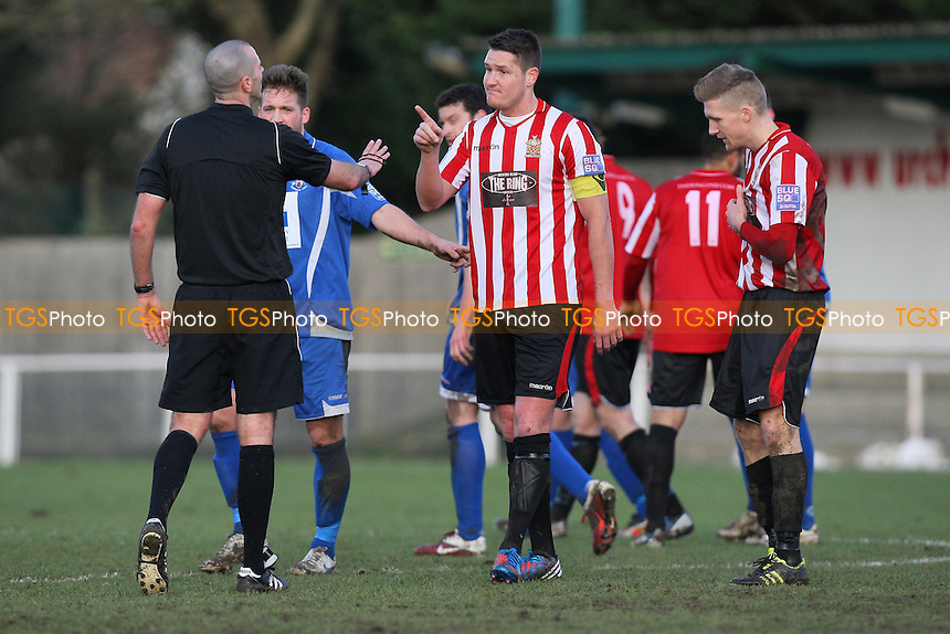 Frankie Curley of Hornchurch has a word with referee Nigel Lugg - AFC Hornchurch vs Tonbridge Angels - Blue Square Conference South Football at The Stadium, Upminster Bridge, Essex - 26/01/13 - MANDATORY CREDIT: Gavin Ellis/TGSPHOTO - Self billing applies where appropriate - 0845 094 6026 - contact@tgsphoto.co.uk - NO UNPAID USE.