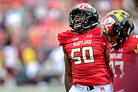 College Park, MD - SEPT 22, 2018: Maryland Terrapins defensive lineman Mbi Tanyi (50) is fired up after a defensive stop during game between Maryland and Minnesota at Capital One Field at Maryland Stadium in College Park, MD. The Terrapins defeated the Golden Bears 42-13 to move to 3-1 on the season. (Photo by Phil Peters/Media Images International)