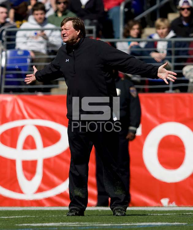 Maryland head coach Dave Cottle yells from the sidelines during the Face-Off Classic in at M&T Stadium in Baltimore, MD