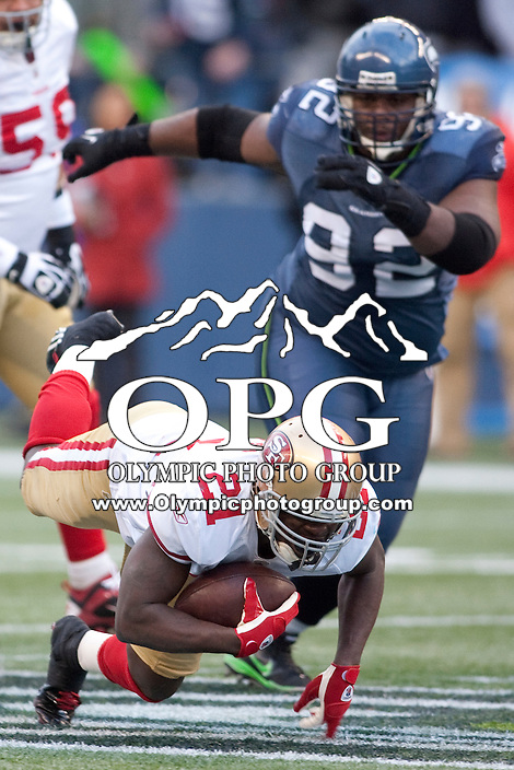 Dec 24, 2011: San Francisco's #21 Frank Gore against Seattle at Century Link Stadium in Seattle WA.  San Francisco defeated Seattle 19-17.
