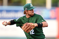 Daytona Tortugas third baseman Taylor Sparks (12) throws to first after fielding a ground ball during a game against the Tampa Yankees on April 24, 2015 at George M. Steinbrenner Field in Tampa, Florida.  Tampa defeated Daytona 12-7.  (Mike Janes/Four Seam Images)