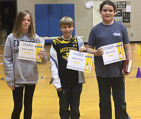 Photo Submitted<br /> Sixth grade A Honor Roll students for the first semester are (left), Mikala McCrory, Anthony D'Amico, and Hannah Cotton.