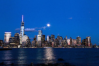 The full moon rises over New York City from a park in New Jersey. March 15, 2014. Photo by Eduardo Munoz Alvarez/VIEW