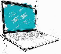 Close up drawing of laptop with blank screen