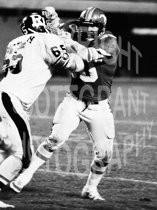 Danny Bass Calgary Stampeders linebacker 1983. Photo Scott Grant