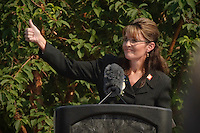 Alaska Governor Sarah Palin speaks at her resignation ceremony on July 26, 2009.