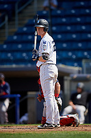 Staten Island Yankees first baseman Eric Wagaman (22) at bat during a game against the Lowell Spinners on August 22, 2018 at Richmond County Bank Ballpark in Staten Island, New York.  Staten Island defeated Lowell 10-4.  (Mike Janes/Four Seam Images)
