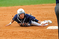 17 April 2010:  FIU's Jeremy Patton (22) slides into second on an attempted steal in the sixth inning as the FIU Golden Panthers defeated the University of New Orleans Privateers, 6-4, at University Park Stadium in Miami, Florida.