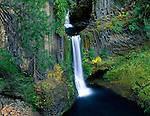 Umpqua National Forest, OR <br /> Toketee Falls plunges thirty feet then another ninety feet over a sheer wall of basalt into the North Umpqua River. (Toketee is an Indian word meaning graceful)