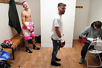 Anton Haskins (L) and father Lee Haskins in the dressing room during a Boxing Show at Whitchurch Leisure Centre on 5th October 2019. Lee Haskins and his son Anton Haskins both appeared on the same card, Anton making his professional debut.
