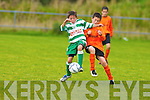 BATTLING: Celtic's.Michea?l Burns and.Park FC's Ryan Carroll.compete for this.loose ball in their riveting.U12 Premier.opener in Killarney.on Saturd