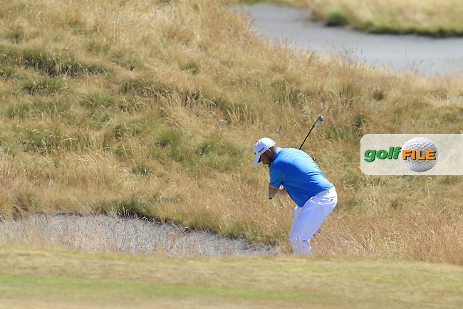 Shane LOWRY (IRL) in the sand at the 11th green during Wednesday's Practice Day of the 2015 U.S. Open 115th National Championship held at Chambers Bay, Seattle, Washington, USA. 6/17/2015.<br /> Picture: Golffile | Eoin Clarke<br /> <br /> <br /> <br /> <br /> All photo usage must carry mandatory copyright credit (&copy; Golffile | Eoin Clarke)