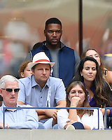 FLUSHING NY- SEPTEMBER 05: Michael Strahan is seen watching Venus Williams Vs Pliskova on Arthur Ashe Stadium at the USTA Billie Jean King National Tennis Center on September 5, 2016 in Flushing Queens. Credit: mpi04/MediaPunch