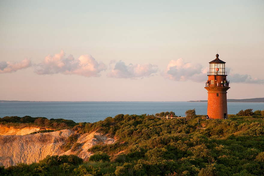 The Gay Head Lighthouse on the Aquinnah cliffs on Martha's Vineyard.