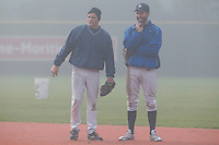 24 October 2010: Fabien Proust and Sebastien Boyer are seen prior to Savigny 8-7 win (in 12 innings) over Rouen, during game 3 of the French championship finals, in Rouen, France.