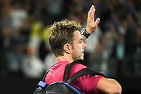 January 26, 2017: Stan Wawrinka of Switzerland waves to the crowd after losing a semifinals match against Roger Federer of Switzerland on day 11 of the 2017 Australian Open Grand Slam tennis tournament in Melbourne, Australia. Photo Sydney Low