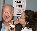 Reed Birney and Olivia Wilde from the cast of Broadway's '1984' celebrate their 101st performance (in honor of the show's notorious Room 101) with red velvet cupcakes with severed finger toppings on September 17, 2017 at the Hudson Theatre in New York City.