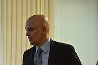 BRASÍLIA, DF, 21.02.2017 – SABATINA-SENADO – O ministro da justiça licenciado e indicado ao STF, Alexandre de Moraes, chegando em sua sabatina na CCJ do Senado, na manhã desta terça-feira, 21.(Foto: Ricardo Botelho/Brazil Photo Press)