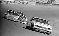 Dale Earnhardt Sr., #3 Richard Childress Wrangler Chevrolet, Alan Kulwicki, #7 Zerex Ford, , Cale Yarbrough, #29 Hardee's Oldsmobile, Harry Gant, #33 Hal Needham  Skoal Chevrolet, action, turn 4,  Daytona 500, Daytona International Speedway, Daytona Beach, Florida, February 15, 1987. (Photo by Brian Cleary/www.bcpix.com)