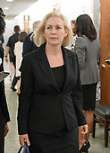 United States Senator Kirsten Gillibrand (Democrat of New York) in the hallway during a break in the testimony of Dr. Christine Blasey Ford  before the US Senate Committee on the Judiciary on the nomination of Judge Brett Kavanaugh to be Associate Justice of the US Supreme Court to replace the retiring Justice Anthony Kennedy on Capitol Hill in Washington, DC on Thursday, September 27, 2018.<br /> Credit: Ron Sachs / CNP<br /> (RESTRICTION: NO New York or New Jersey Newspapers or newspapers within a 75 mile radius of New York City)