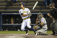 Michigan Wolverines outfielder Cody Bruder (3) doubles down the third base line in the bottom of the ninth inning against the Oakland Golden Grizzlies on May 17, 2016 at Ray Fisher Stadium in Ann Arbor, Michigan. Oakland defeated Michigan 6-5 in 10 innings. (Andrew Woolley/Four Seam Images)