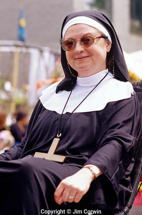 Woman dressed as a nun Frempont parade Seattle Washington State USA
