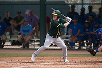 Oakland Athletics outfielder Brett Vertigan (28) at bat during a Minor League Spring Training game against the Chicago Cubs at Sloan Park on March 13, 2018 in Mesa, Arizona. (Zachary Lucy/Four Seam Images)