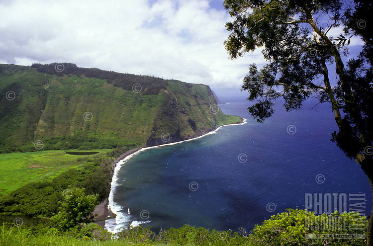 Waipio Valley with taro fields and ocean; view of coast from lookout, Big Island