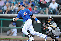 Kris Bryant #19 of the Iowa Cubs swings against the Omaha Storm Chasers at Principal Park on July 2, 2014 in Des Moines, Iowa. The Cubs  beat Storm Chasers 4-3.   (Dennis Hubbard/Four Seam Images)