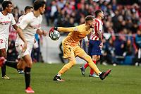 7th March 2020; Wanda Metropolitano Stadium, Madrid, Spain; La Liga Football, Atletico de Madrid versus Sevilla; Tomas Vaclik (Sevilla FC) puts the ball back into play
