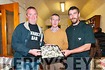 "Ballylongford Oyster Festival : Contestants in the Annual Ballylongford Oyster Swallowing competition Jerry Carmody, Tarbert, left  & Paul Mulvihill, Ballylongford, right  pictured with Liam ""Speedie "" Nolan at Finnucanes Bar on Friday night last."